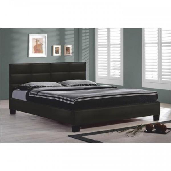 Manželská posteľ s roštom, 160x200, čierna ekokoža, MIKEL