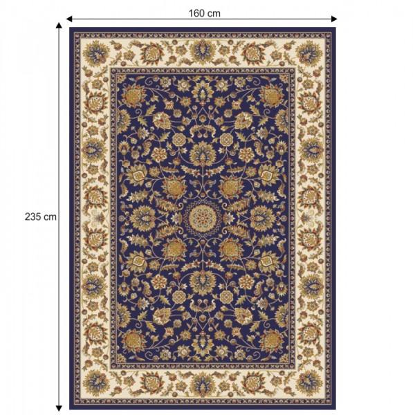 Koberec, tmavomodrá/mix farieb/vzor, 160x235, KENDRA TYP 1