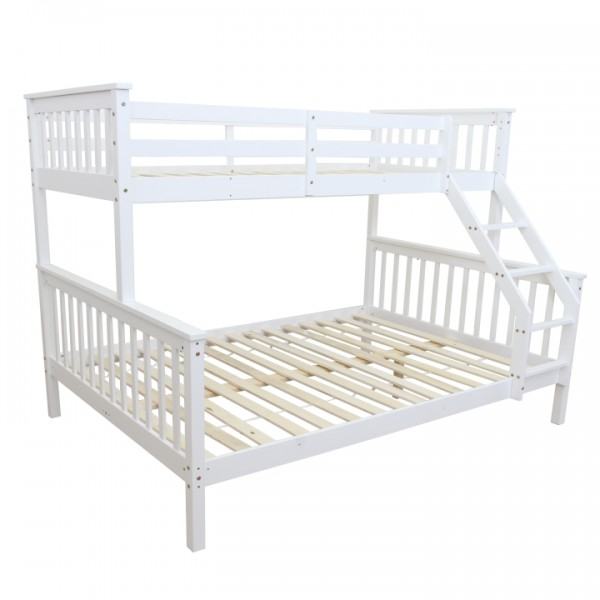 Poschodová rozložiteľná posteľ, biela, BAGIRA