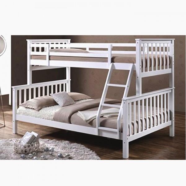TEMPO KONDELA Poschodová rozložiteľná posteľ, biela, BAGIRA
