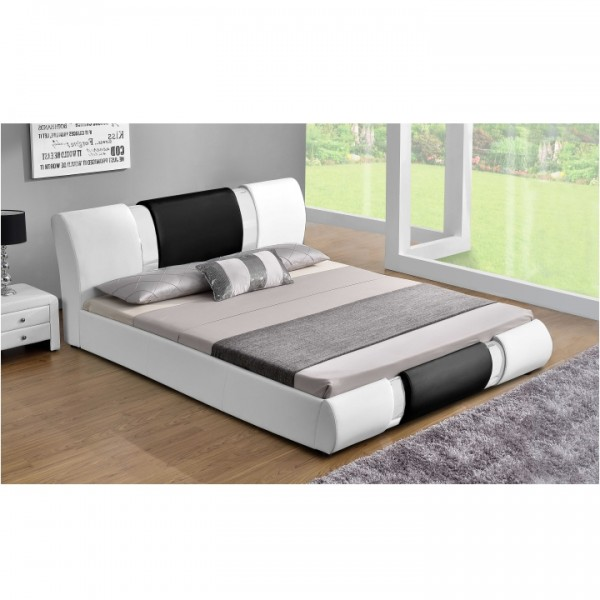 TEMPO KONDELA Moderná posteľ, biela/čierna, 180x200, LUXOR