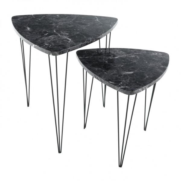 TEMPO KONDELA Set 2 konferenčných stolíkov, vzor čierny mramor/čierny kov, STOFOL