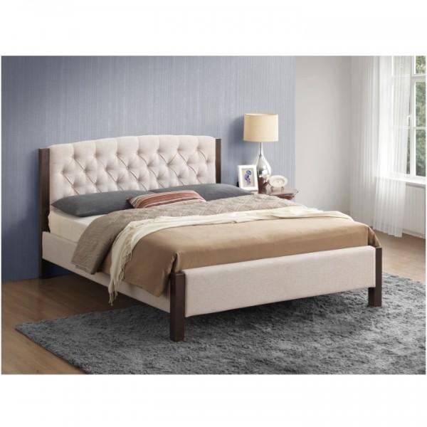 Manželská posteľ, piesková/tmavý orech, 180x200, ELENA