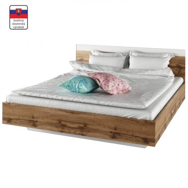 TEMPO KONDELA Manželská posteľ, 180x200, dub wotan/biela, GABRIELA