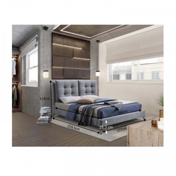 Moderná posteľ, sivá, 160x200, KOLIA