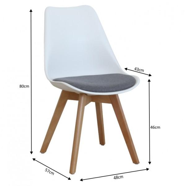 Stolička, biela/sivá, DAMARA