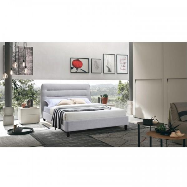 Manželská posteľ, sivý melír, 160x200, MAJESTIK