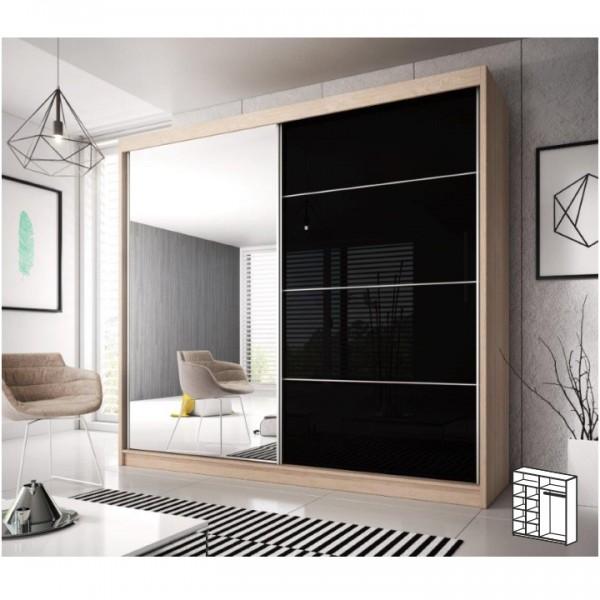 Skriňa s posúvacími dverami, dub sonoma/čierny lesk, 203x218, MULTI 31
