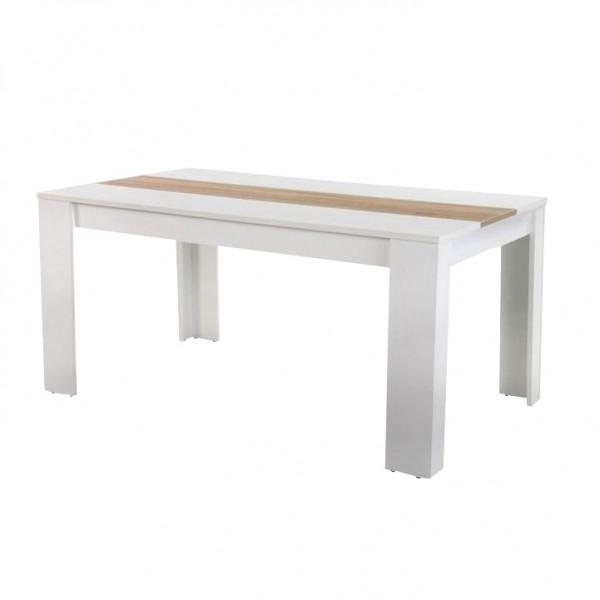 TEMPO KONDELA Jedálenský stôl, biela/dub sonoma, RADIM NEW