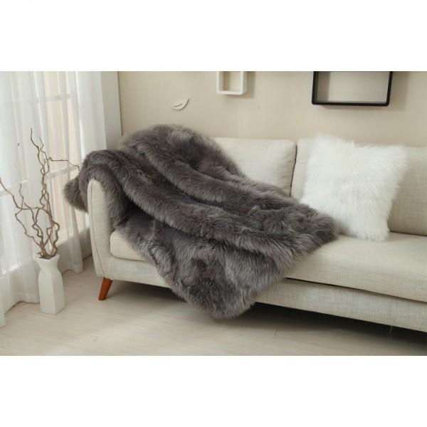 Kožušinová deka, sivá, 150x180, EBONA TYP 5