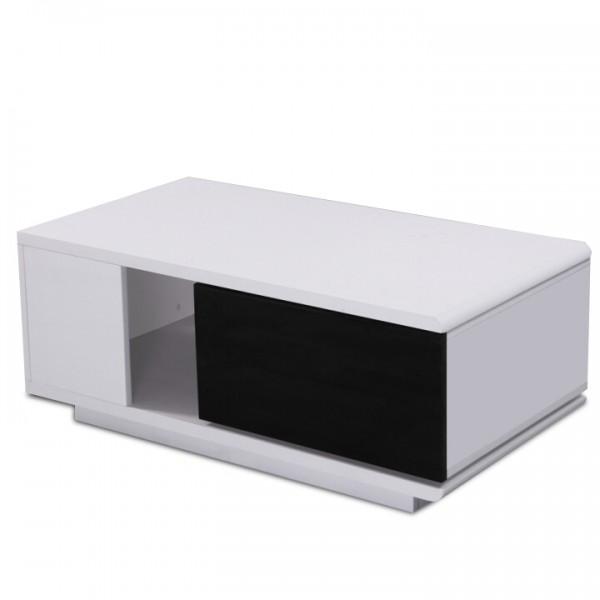 TEMPO KONDELA Konferenčný stolík, MDF, biela/čierna extra vysoký lesk, DEMBA LCT300