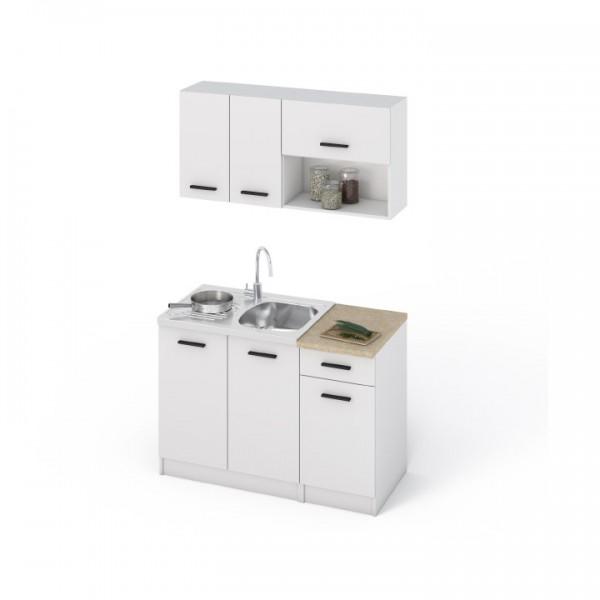Kuchynská linka, biela, DTD laminovaná, LIBIA