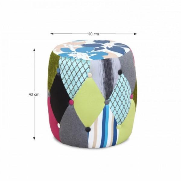 Taburet, látka vzor/patchwork, DEMA