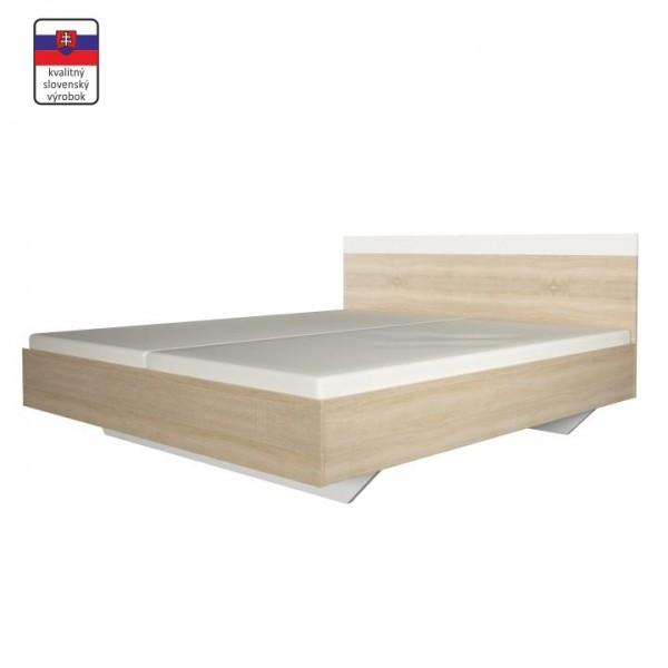 TEMPO KONDELA Manželská posteľ, dub sonoma/biela, 160x200, GABRIELA