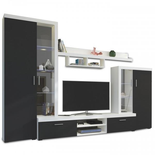 Obývacia stena, čierna/biela,  LIBERTY