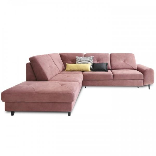 Rozkladacia sedacia súprava, látka púdrová rúžová, ľavá, PRAGA