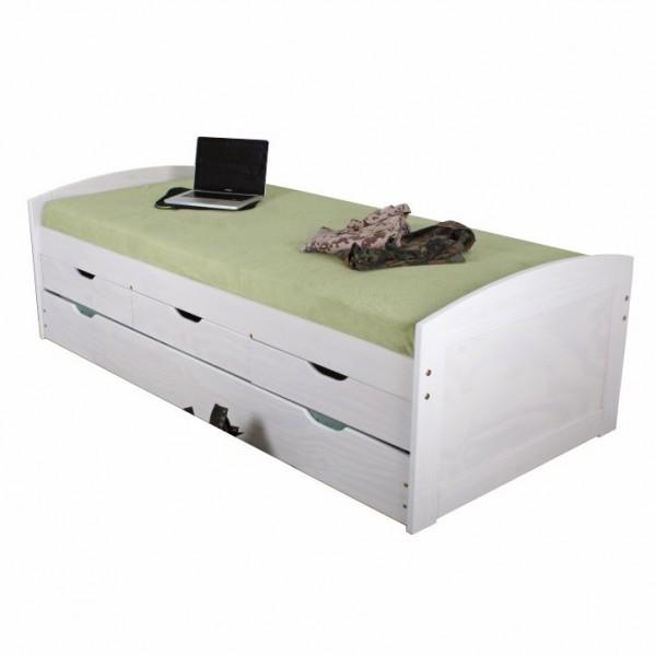 Posteľ s výsuvnou prístelkou, biela, 90x200, MARINELLA
