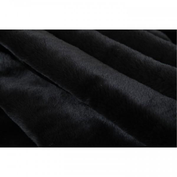 Kožušinová deka, čierna, 150x170, RABITA TYP 1