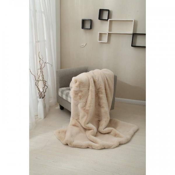 Kožušinová deka, béžová, 150x180, RABITA TYP 2