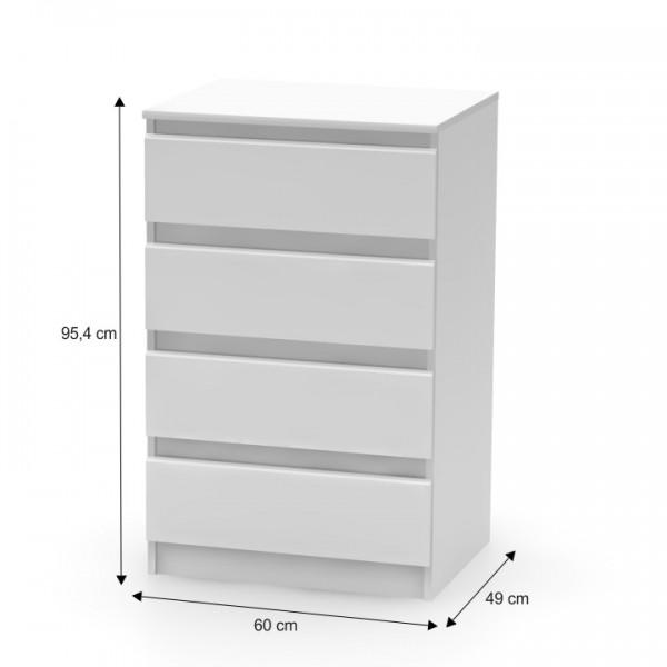 4 šuplíková komoda, biela, HANY 014