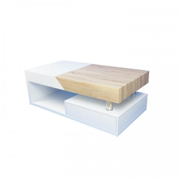 Konferenčný stolík, biely lesk/dub sonoma, MELIDA