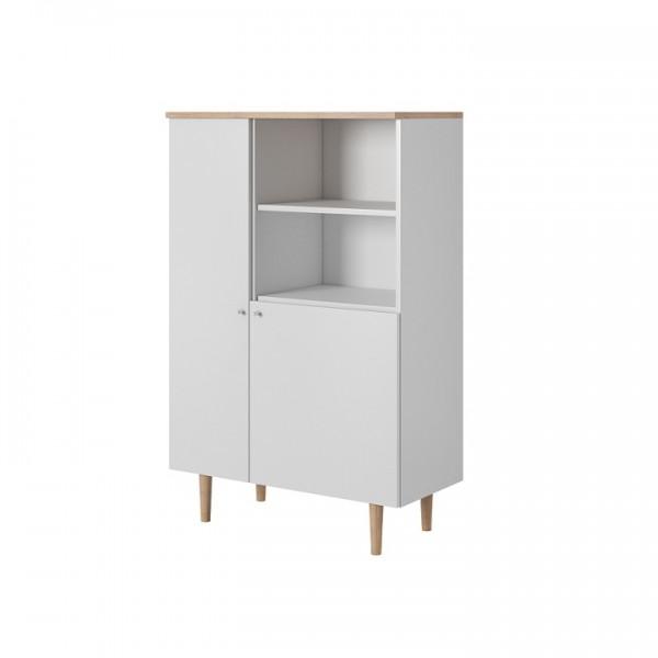 TEMPO KONDELA Komoda, biela/buk pieskový, LAVELI  LR80