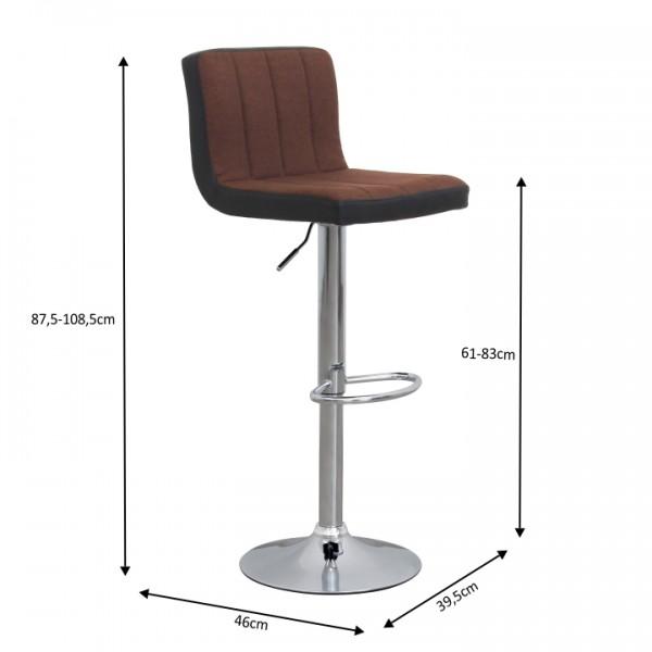 Barová stolička, hnedá/čierna, HILDA
