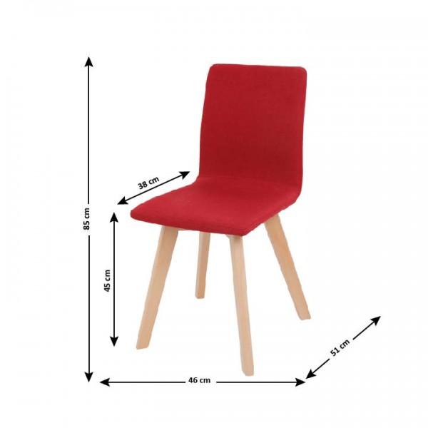 Stolička, červená/buk, LODEMA