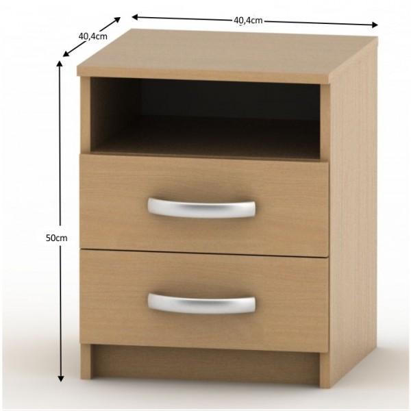 Nočný stolík s 2 šuplíkmi, buk, BETTY 2 BE02-018-00