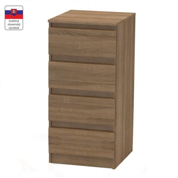 TEMPO KONDELA 4 šuplíková komoda, bardolino tmavé, HANY 009