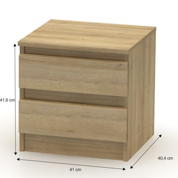 2 šuplíkový nočný stolík, dub riviera, HANY 002