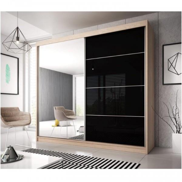 Skriňa s posúvacími dverami, dub sonoma/čierny lesk, 233x218, MULTI 31