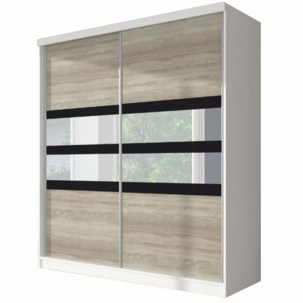 Skriňa s posuvnými dverami, dub sonoma/biela/čierne sklo, 233x218, MULTI 10