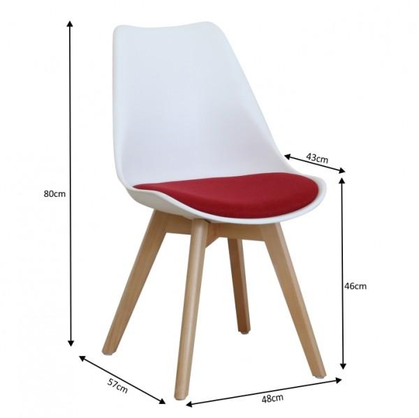 Stolička, biela/červená, DAMARA