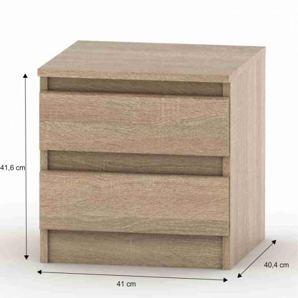 2 šuplíkový nočný stolík, dub sonoma, HANY 002