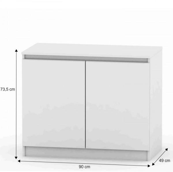 2 dverová komoda, biela, HANY 008