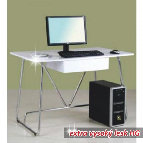 PC stôl, biela/extra vysoký lesk, EDGAR