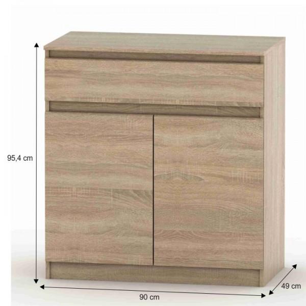 2 dverová komoda s jedným šuplíkom, dub sonoma, HANY 007