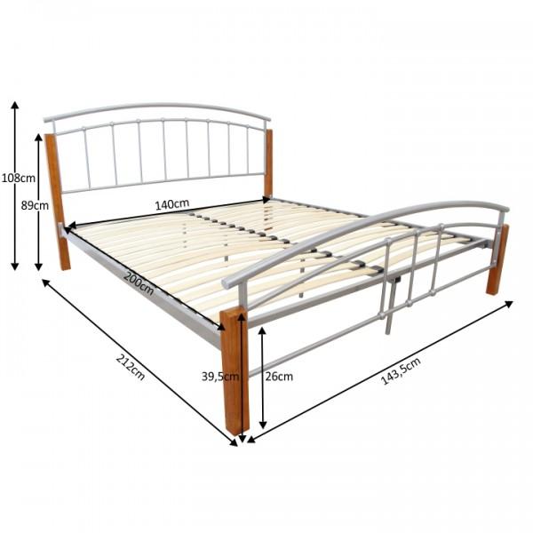 Posteľ, drevo jelša/strieborný kov, 140x200, MIRELA