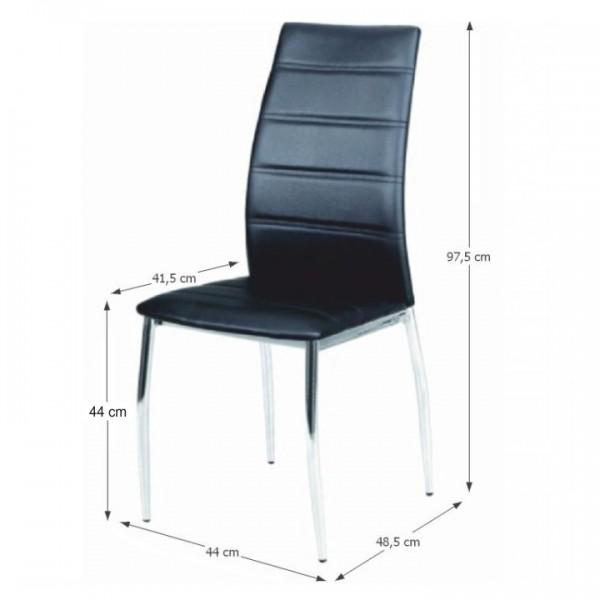Jedálenská stolička, ekokoža čierna/chróm, DELA