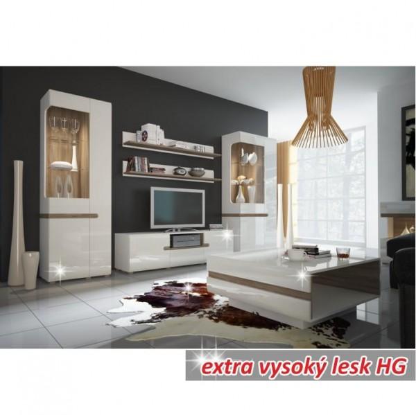 TV komoda, biela extra vysoký lesk HG/dub sonoma tmavý truflový, LYNATET TYP 50