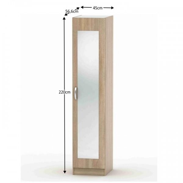 Skriňa so zrkadlom, dub sonoma, BETTY 2 BE02-005-00