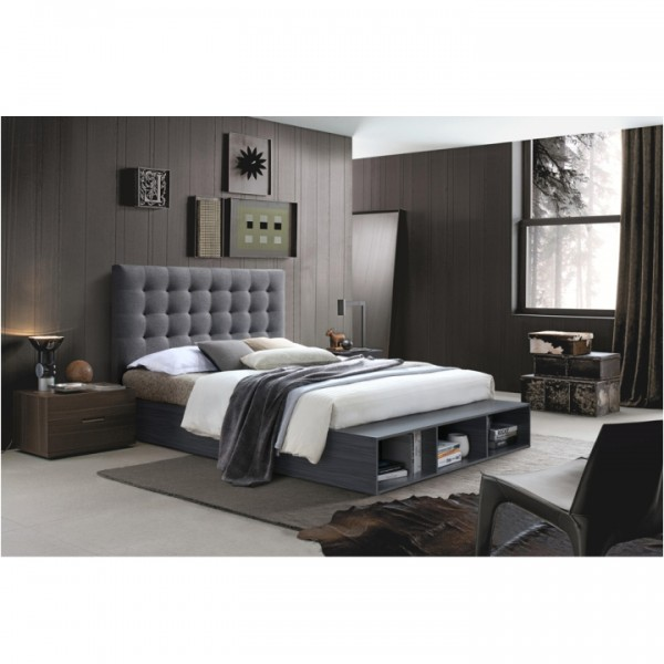 Manželská posteľ s regálom, sivá, 160x200, TERKA