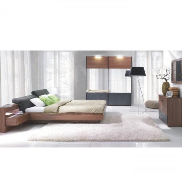 TEMPO KONDELA Spálňový komplet (skriňa+posteľ 160x200 s 2 nočnými stolíkmi), orech/grafit, REKATO