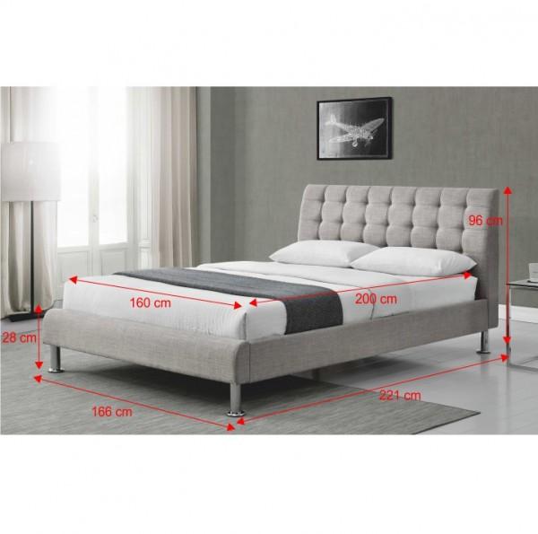 Manželská posteľ, sivá látka, 160x200, PAOLA