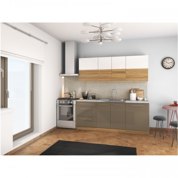 Kuchynská linka, biely lesk/svetlý orech/cobalt sivý lesk, SERGIO
