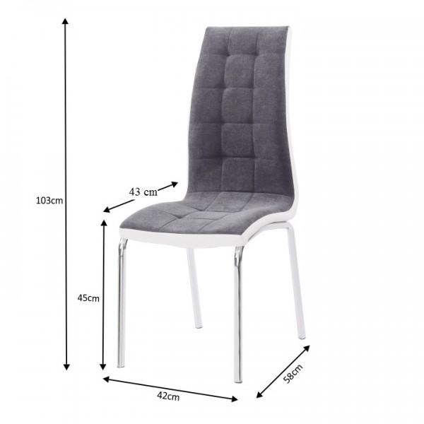 TEMPO KONDELA Jedálenská stolička, tmavosivá/biela, GERDA NEW