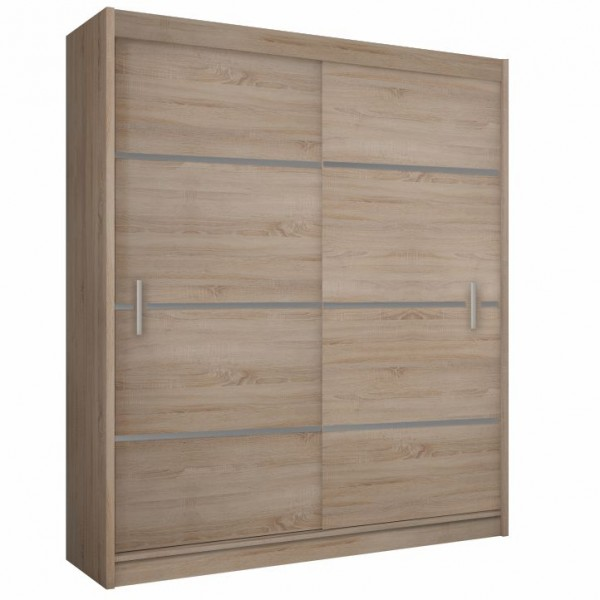 Skriňa s posúvacími dverami, dub sonoma/sivá, MERINA 203