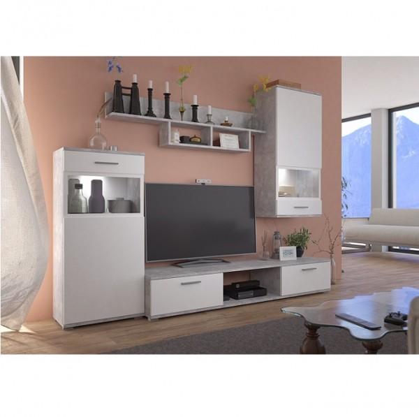 Obývacia stena, biela/betón svetlý, BREAK