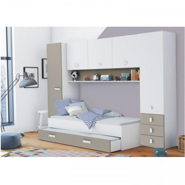 Nadstavec nad posteľ, biela/sivohnedá taupe, TIDY